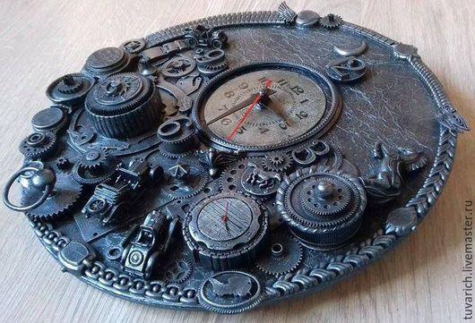 Часы для дома ручной работы. Ярмарка Мастеров - ручная работа. Купить часы стимпанк (steampunk) - Тройка. Handmade. Серебряный