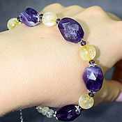 Украшения handmade. Livemaster - original item Chic bracelet natural amethyst and citrine. Handmade.