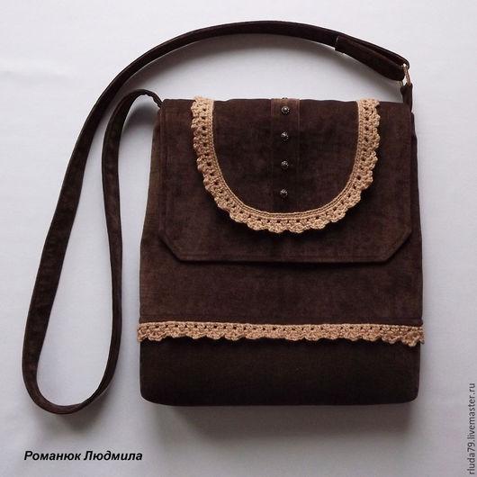 Сумка женская  `Какао` через плечо из ткани Интернет-магазин Ярмарка мастеров Сумка ручной работы из текстиля с клапаном