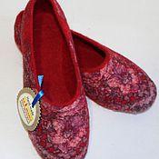 """Обувь ручной работы. Ярмарка Мастеров - ручная работа Валянные тапочки """" Маков цвет """". Handmade."""
