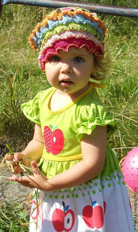 Шапки и шарфы ручной работы. Ярмарка Мастеров - ручная работа. Купить Летняя вязаная детская шапочка берет из хлопка для девочки Яркие цветы. Handmade.