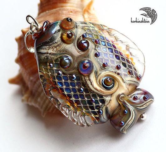 """Кулоны, подвески ручной работы. Ярмарка Мастеров - ручная работа. Купить Кулон """"Рыба-радуга"""". Handmade. Кулон, рыбка, стекло"""