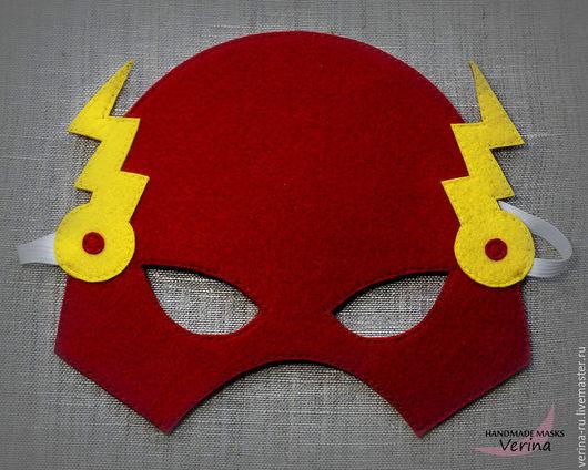 Игровые маски для детей и взрослых из фетра ручной работы. Маска Вспышки из фетра. Маски для вечеринки. Маски супер героев. Вспышка.