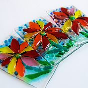 Для дома и интерьера handmade. Livemaster - original item Glass decor set of three elements Summer, Ah, summer! Fusing decor. Handmade.