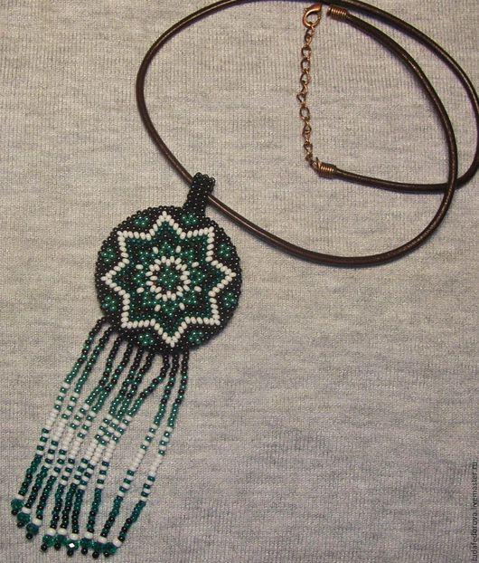 Кулоны, подвески ручной работы. Ярмарка Мастеров - ручная работа. Купить Медальон. Handmade. Зеленый, подвеска, украшения из бисера