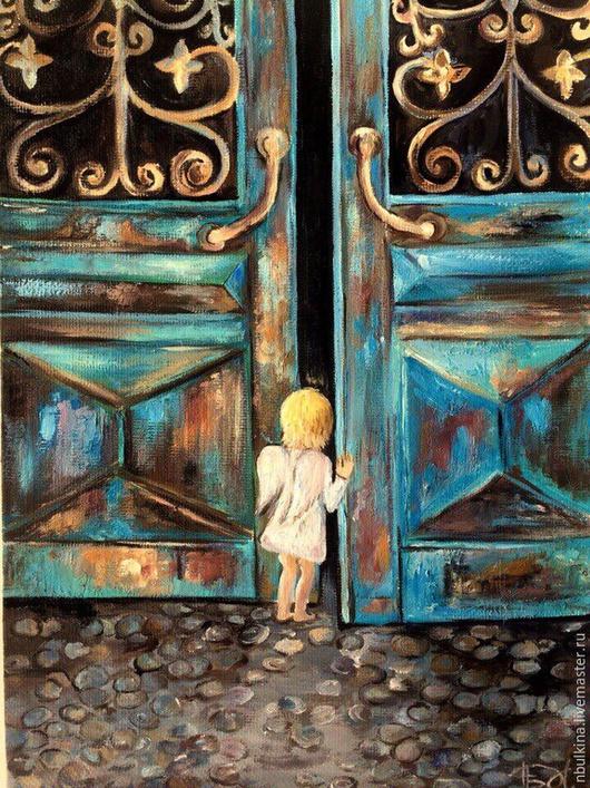"""Люди, ручной работы. Ярмарка Мастеров - ручная работа. Купить Картина """" Робкий Ангел"""". Handmade. Разноцветный, ангел"""