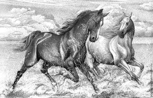 Животные ручной работы. Ярмарка Мастеров - ручная работа. Купить Лошади. Handmade. Чёрно-белый, графика, тушь, лошади, картина