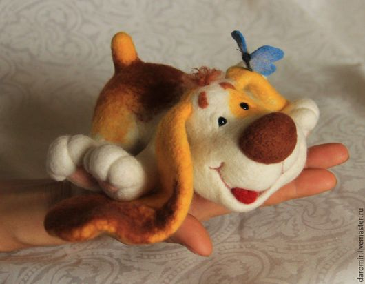 """Игрушки животные, ручной работы. Ярмарка Мастеров - ручная работа. Купить Щенок из войлока """"Лопоухое счастье"""" интерьерная игрушка. Handmade."""
