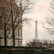 Картины и панно ручной работы. Ярмарка Мастеров - ручная работа Фотокартина, Париж, пастельный городской пейзаж с Эйфелевой башней. Handmade.