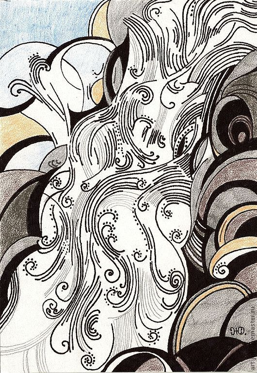 """Пейзаж ручной работы. Ярмарка Мастеров - ручная работа. Купить рисунок """"Водопад"""". Handmade. Япония, водопад, горная река, гора"""