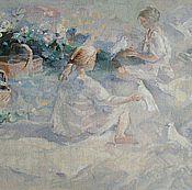 Картины и панно ручной работы. Ярмарка Мастеров - ручная работа Девочки и голуби. Handmade.