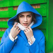 Одежда ручной работы. Ярмарка Мастеров - ручная работа Пальто зимнее на утеплителе с капюшоном Худи зима синее теплое. Handmade.