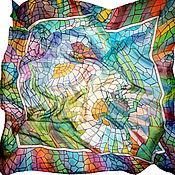 Аксессуары ручной работы. Ярмарка Мастеров - ручная работа Батик платок «Мозаика». Handmade.