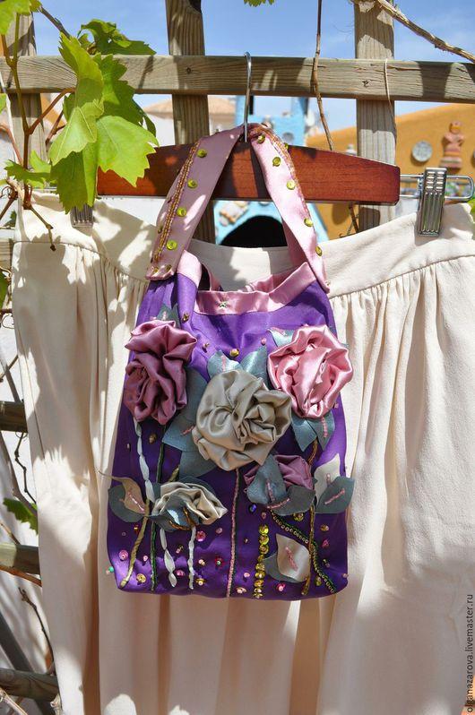 Женские сумки ручной работы. Ярмарка Мастеров - ручная работа. Купить Сезон роз. Handmade. Тёмно-фиолетовый, сумочка вечерняя