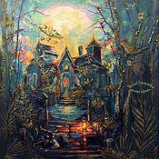 Картины и панно handmade. Livemaster - original item Panel: decorative wall panel forest cat evening NIGHT GUARD. Handmade.