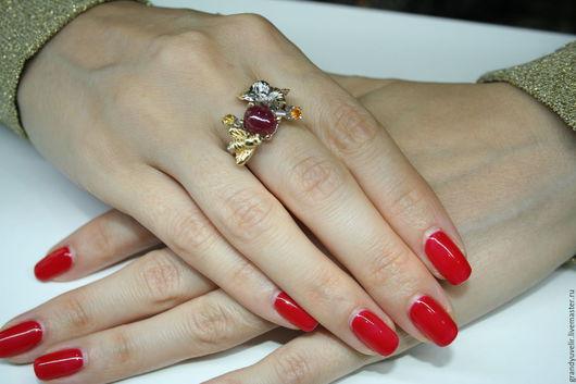 Кольца ручной работы. Ярмарка Мастеров - ручная работа. Купить Авторское кольцо ручной работы с натуральным рубином.. Handmade.