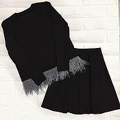 Одежда ручной работы. Ярмарка Мастеров - ручная работа Костюм из плотного трикотажа: юбка-солнце и свитшот. Handmade.
