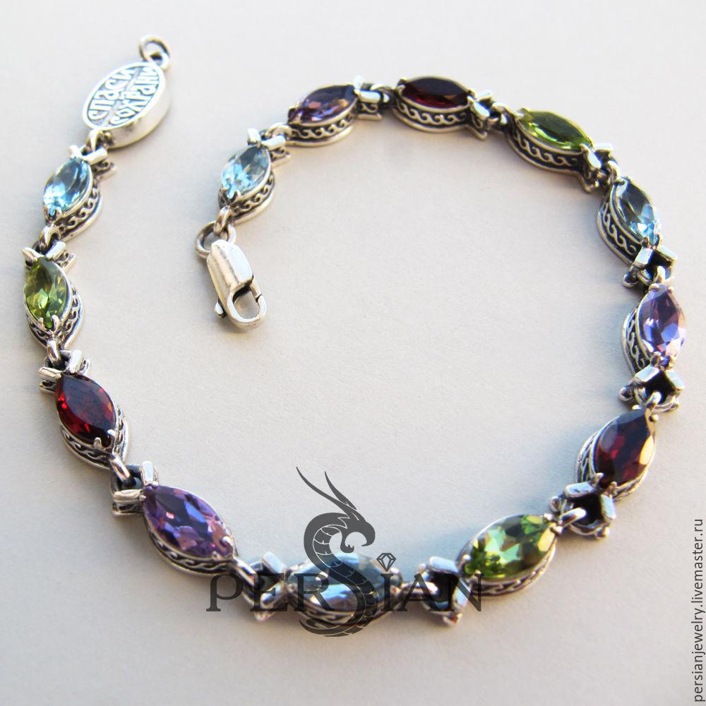 Silver Fish bracelet with colorful zircons, Chain bracelet, Sevastopol,  Фото №1
