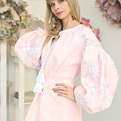 Одежда handmade. Livemaster - original item Tunic pale pink with grey and white embroidery. Handmade.
