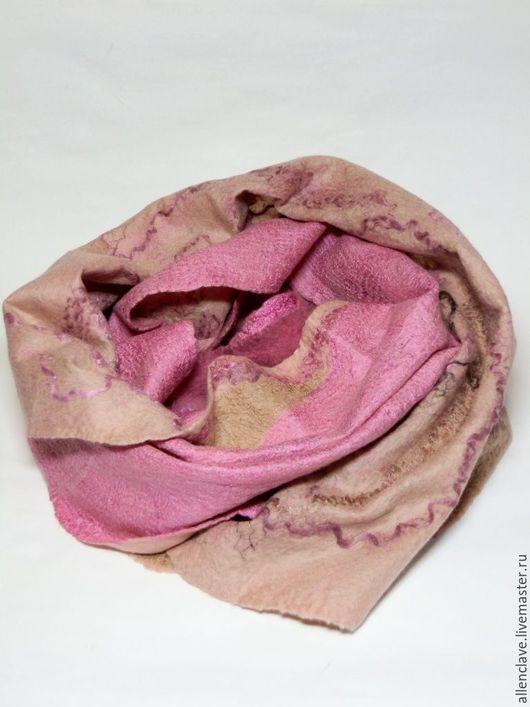 Шарфы и шарфики ручной работы. Ярмарка Мастеров - ручная работа. Купить шарф валяный Розовый зефир. Handmade. Розовый