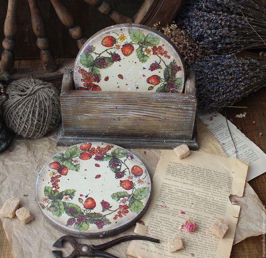 """Кухня ручной работы. Ярмарка Мастеров - ручная работа. Купить """"Земляничный веночек"""" набор. Handmade. Оливковый, подарок, брашировка"""