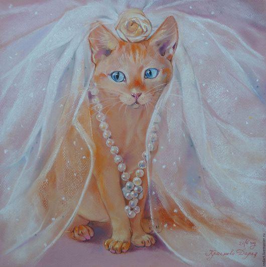 Животные ручной работы. Ярмарка Мастеров - ручная работа. Купить Невеста.. Handmade. Кремовый, пастель, кошка, картина, невесте