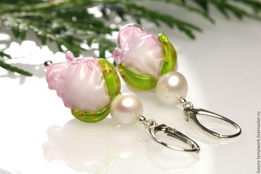 авторское серебряное украшение, длинные серьги, серебряные серьги, серебро 925 пробы, розы серебро,  жемчуг серьги розы, розовые розы,  подарок любимой, серебро, ювелирные украшения натуральный жемчуг