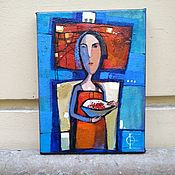 Картины и панно handmade. Livemaster - original item Small acrylic painting for the kitchen with the girl and a Cup of cherries. Handmade.