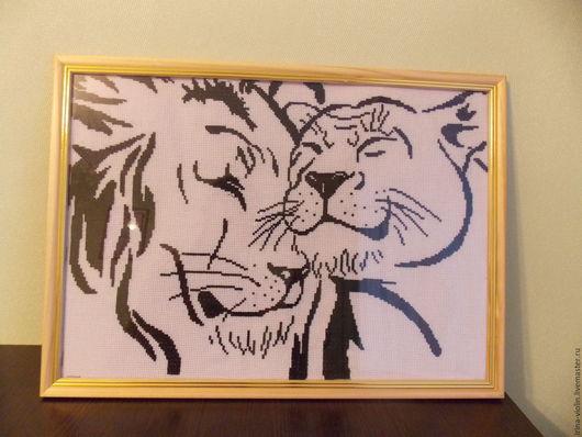 """Животные ручной работы. Ярмарка Мастеров - ручная работа. Купить Картина """"Лев и львица"""". Handmade. Черный, лев и львица, животные"""