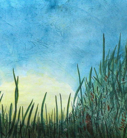 """Пейзаж ручной работы. Ярмарка Мастеров - ручная работа. Купить """"Ода"""" акварельная работа. Handmade. Закат, растения, луговые травы"""