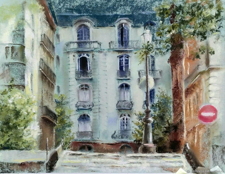 Pastel painting about Paris (olive mint city landscape), Pictures, Yuzhno-Uralsk,  Фото №1