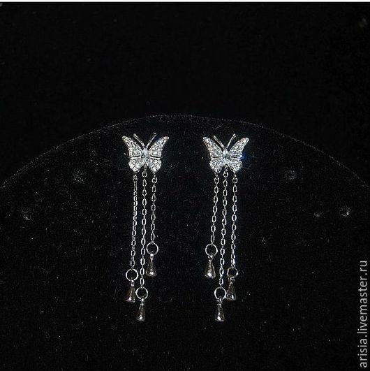 Винтажные украшения. Ярмарка Мастеров - ручная работа. Купить New! Серьги Van Cleef Воздушные бабочки серебро, цирконы. Handmade.