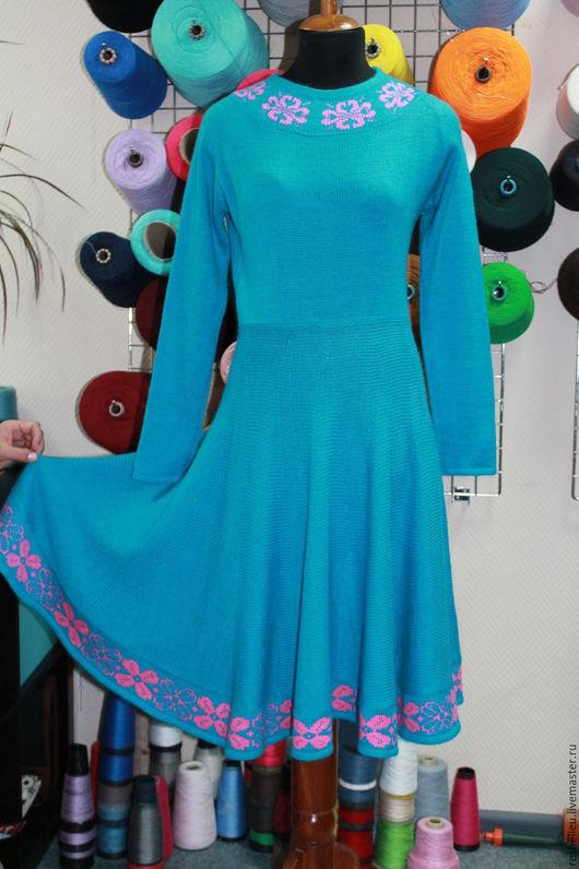 Платья ручной работы. Ярмарка Мастеров - ручная работа. Купить Платье вязаное №28 из 30% мохера. Handmade. Бирюзовый