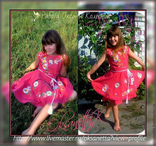 """Одежда для девочек, ручной работы. Ярмарка Мастеров - ручная работа. Купить Платье для девочки """"Ромашковый рай"""". Handmade. Коралловый"""