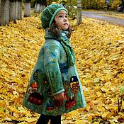 """Одежда ручной работы. Ярмарка Мастеров - ручная работа Пальто и берет """"Сказочные домики"""". Handmade."""