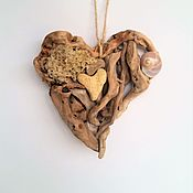 Подвески ручной работы. Ярмарка Мастеров - ручная работа Сердце из палочек дрифтвуд с камушком-сердечком Талисман любви 17 см. Handmade.