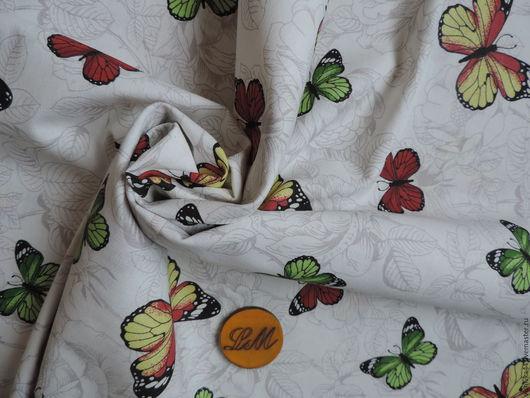 Шитье ручной работы. Ярмарка Мастеров - ручная работа. Купить ткань лен хлопок бабочки на белом. Handmade. Лён натуральный
