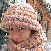 """Комплект """"Косы"""" шапка+шарф"""