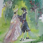 Картины ручной работы. Ярмарка Мастеров - ручная работа Объяснение у розовой беседки, постер с акварельной картины, Прогулки. Handmade.