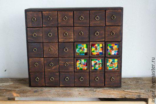 Мини-комоды ручной работы. Ярмарка Мастеров - ручная работа. Купить Картотека с мозаикой. Handmade. Комбинированный, мозаика из стекла, комод