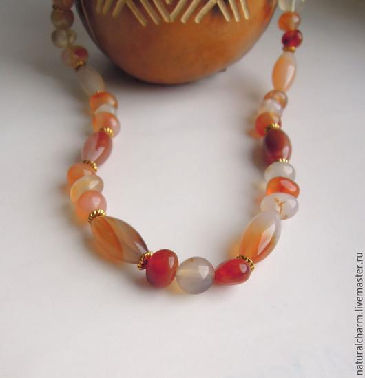 """Колье, бусы ручной работы. Ярмарка Мастеров - ручная работа. Купить Бусы """"Радость солнца"""". Handmade. Оранжевый, натуральные камни"""
