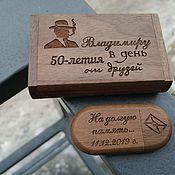 Сувениры и подарки handmade. Livemaster - original item Wooden flash drive with engraving, gift. Handmade.