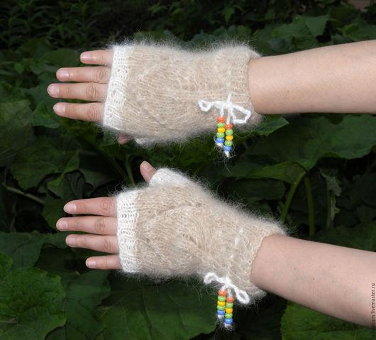 Варежки, митенки, перчатки ручной работы. Ярмарка Мастеров - ручная работа. Купить Митенки из собачьей шерсти. Handmade. Бежевый, подарок