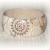 Украшения handmade. Livemaster - original item Beige striped bracelet wood Bamboo Mat. Striped eco. Handmade.