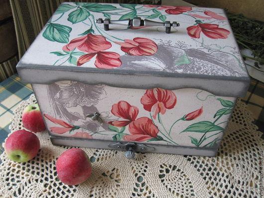 """Кухня ручной работы. Ярмарка Мастеров - ручная работа. Купить Хлебница-короб """"Горошек цветёт..."""". Handmade. Хлебница, цветы"""