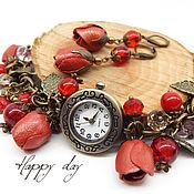 Украшения handmade. Livemaster - original item Women`s wrist watch bracelet with flowers and leather coral. Decoration. Handmade.