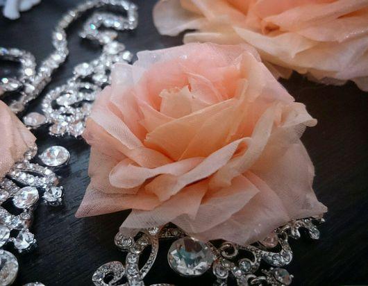 Цветы ручной работы. Ярмарка Мастеров - ручная работа. Купить Роза из шёлка. Handmade. Роза, цветок на голову, персиковый роза