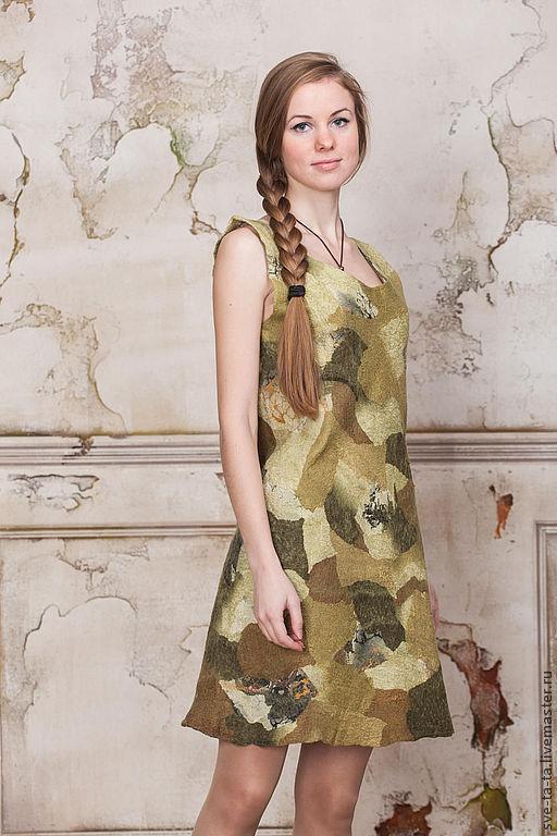 Короткое платье мини, хаки, короткое легкое платье Мимикрия, Платья, Москва, Фото №1