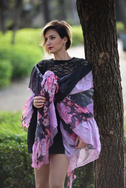 Pink black Wool Shawl, Shawls1, Bat Yam,  Фото №1