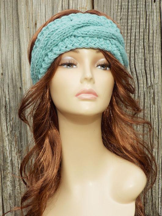 """Повязки ручной работы. Ярмарка Мастеров - ручная работа. Купить Повязка на голову """"Мята"""", Вязаная повязка на голову, Женская повязка. Handmade."""